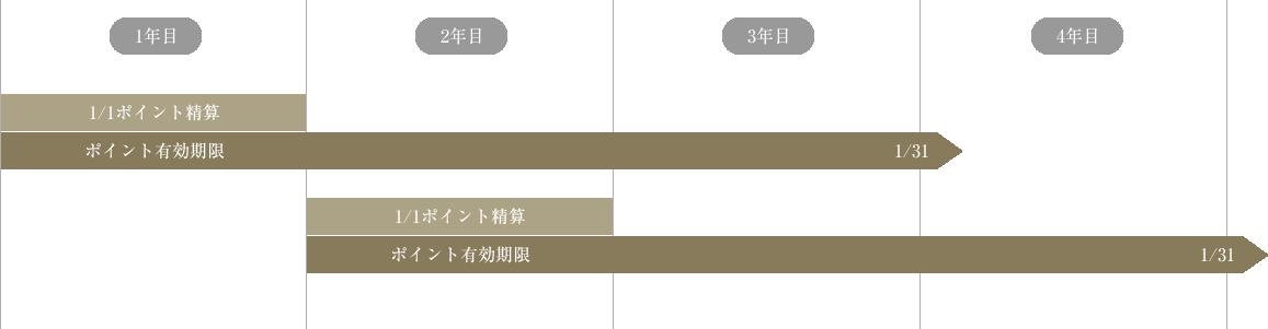 ポイントは積算時から有効で、翌年1月1日より25ヵ月後の1月末が期限となります。